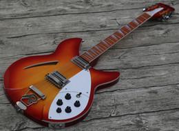China 12 String Electric Guitars Australia - China Ric 330 Guitar 12 String Semi Hollow Body cherry sunburst Electric Guitar Single Hole, White MOP Triangle Fingerboard Inlay
