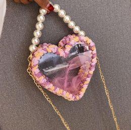 $enCountryForm.capitalKeyWord Australia - Factory wholesale women handbag sweet love shape transparent chain bag hand-woven fashion beach bag unique acrylic transparent Messenger bag