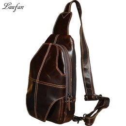 messenger bags for ipad Australia - Men's Genuine leather chest bag Brown Cow leather messenger bag for iPad Oil genuine crossbody for go out fast post