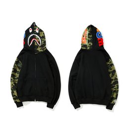 Famous brand cardigan sweaters online shopping - B APE brand designer hoodie Japanese street trend famous hoodies Shark head embroidery camouflage stitching zipper sweater men women selling