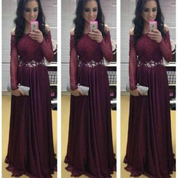 winter evening cocktail dresses UK - Sexy Prom Dresses Long A -Line Burgundy Off -Shoulder Long Sleeves Maroon Sweep Train Formal Cocktail Party Dress Evening Cheap