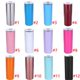 stainless tumblers NZ - New 20oz Stainless Steel Skinny Tumbler Vacuum Insulated Straight Cup Beer Coffee Mugs with Lid and Straw