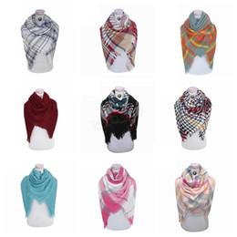 Women Men Plaid Scarf Girls Shawl 140*140cm Grid Wraps Lattice Neck Scarves square Pashmina Winter Neckerchief Blankets LJJA2967 on Sale
