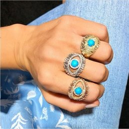 turkish rings Canada - Luxury Turkish evil eye jewelry ring Gold color Baguette clear cz blue turquises main stone cute women finger rings