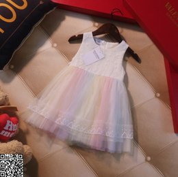 $enCountryForm.capitalKeyWord Australia - Kids dressing gowns Children's skirt New Princess Rainbow mesh skirt, super beautiful color, superb workmanship