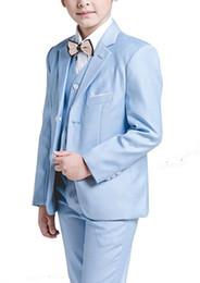 $enCountryForm.capitalKeyWord Australia - Boy Suit Notch Lapel Custom Made Baby Blue Kid Suit Wedding  Prom Dinner Leisure show Children suit ( Jacket+Pants+Vest+Shirt+Tie ) M1352