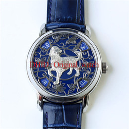 Mens Dog Tags Australia - Luxury Watch 2460g4 Automatic Mov handwork carving Decorative Zodiac Dog Dial Sapphire Crystal Rose Gold Case Leather Strap Mens Watches A25