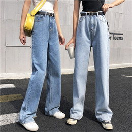 japan fashion jeans 2019 - Women Spring And Autumn Fashion Brand Korea Style High Waist Loose Straight Jeans Female Casual Blue Trousers Wide Leg P