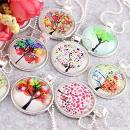 Necklaces Pendants Australia - 38 styles Necklaces Pendants Tree of Life Charm & Chain necklaces Glass Cabochon Dome Necklace free shipping