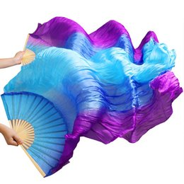 vertical fan UK - belly dance High Selling 100% Silk 1Pair Handmade High Quality Silk Belly Dance Fans Vertical Stripes Purple+Royal blue+Turquoise 180*90cm
