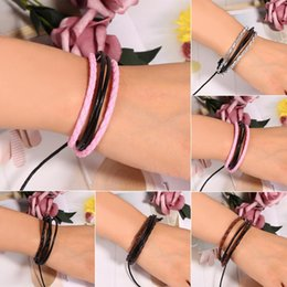 Wholesale Fashion Unisex Braided Multilayer Artificial Leather Wax Rope Cuff Bracelet Wristband Adjustable New Unisex Bracelet