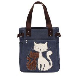 Cute Canvas Handbags Australia - Lovely Cute Cat Canvas Handbag For Girls Ladies Large Capacity Casual Bag Women Portable Solid Zipper Shoulder Bag Bolsos Mujer