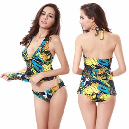 sexy girls suits NZ - 2020 New Summer Fashion Swimsuit Floral Print Two Piece Sexy Swimwear Backless Women Swimming Suit Female Bathing Suit Girl Bikini Bodysuits