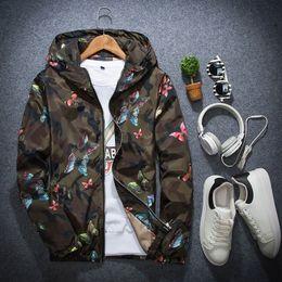 Опт Мужская бабочка печать куртка с капюшоном ветровка куртка плюс размер S-3XL