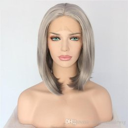 $enCountryForm.capitalKeyWord Australia - Sexy 150% Density 14inch Sliver Grey Short Bob Hand Tied Synthetic Lace Front Wigs Glueless Heat Resistant Fiber Natural Hair Wigs For Women