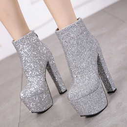Discount 16cm sexy platform high heels - 2019 Platform 7cm Women Sexy Luxury Shining Sequin Booties Cowgirls 16cm High Heels Fetish prom Party Shoes Fall Silver