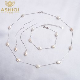 fashion bracelet freshwater pearls UK - ASHIQI Real 925 Sterling Silver Natural Freshwater pearl Jewelry Sets Necklace Bracelet Earrings for women Fashion 2020 New T200613