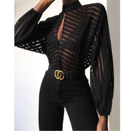 Wholesale female clothing for sale – plus size Sexy Womens Designer Tshirts Stripe Panelled Hollow Out Womens Perspective Tees Casual Lantern Sleeve Females Clothing