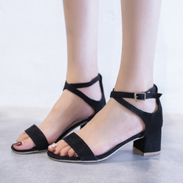 4afb7c82ca2 Pink block heel shoes online shopping - 2018 New Summer Women Sandals High  Heels Flock Block