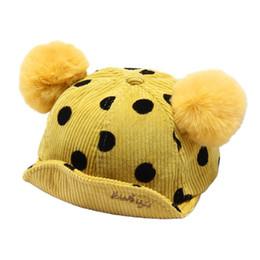 Dot chilDren hat online shopping - Kids Baby Wave Point Hat Corduroy Autumn Winter Warm Hats Children Baseball Cap AXYD