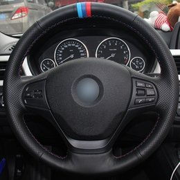 $enCountryForm.capitalKeyWord Australia - Black Natural Leather Light Blue Blue Red Marker Car Steering Wheel Cover for BMW F30 316i 320i 328i