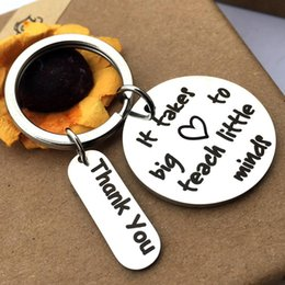 wholesale resin letters Australia - Metal Letter It Takes Big Heart to Teach Pendant Keychain Key Ring Holder Gift New