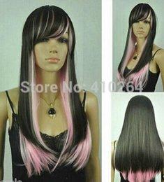 $enCountryForm.capitalKeyWord Australia - Wig Black + Light Pink Mixed Long Straight Women Cosplay Wig Free Shipping