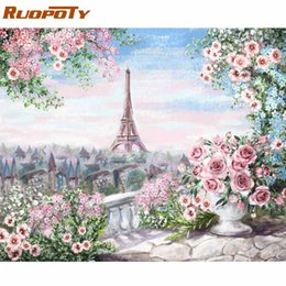 pics oil NZ - heap Painting & Calligraphy RUOPOTY Frame Romantic Paris DIY Painting By Numbers Landscape Acrylic Paint By Numbers For Home Wall Art Pic...