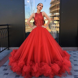 eye catching gowns UK - Eye-Catching Red Ball Gown Prom Dresses Long Sleeveless Ruffles Bottom Chic Bridal Evening Party Dress Gala Pageant Dresses