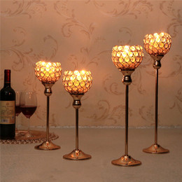 $enCountryForm.capitalKeyWord Australia - Crystal Metal Candle Tealight Holders Stand Candlesticks Candelabrum for Wedding Party Table Centerpieces Candelabra Holiday Home Decoration