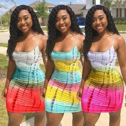 $enCountryForm.capitalKeyWord NZ - Women Spaghetti Strap Mini Dresses Summer Sleeveless Short Skirts Sexy Beachwear Bodycon Dresses Clothes Plus size S-3XL 88