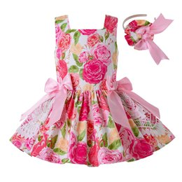 LoLita cLothing online shopping - Pettigirl Summer Pink Girl Dresses Elegant Sleeveless Flower Print Dress With Bows And Headband Boutique Kids Girl Clothes G DMGD203