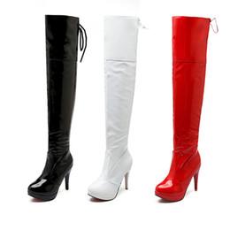 e6222b81f 2018 New Womens Sexy Stiletto Sobre O Joelho Botas De Couro De Salto Alto Coxa  Botas Altas Mulheres Inverno sapatos Vermelho Preto Branco