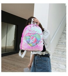 $enCountryForm.capitalKeyWord Australia - Variable color Sequins Unicorn Backpack Fashion Glitter School Book Bag Girls Cute Hologram Laser PU Leather Travel Mochila