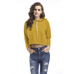 $enCountryForm.capitalKeyWord UK - Women Hoodie 2019 Spring Casual Fashion Pure Color Loose Pullover Back Fork V-Neck Midriff-baring Cotton Blend Size S-XL