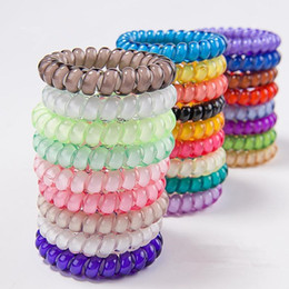 $enCountryForm.capitalKeyWord NZ - 26colors Telephone Wire Cord Gum Hair Tie 6.5cm Girls Elastic Hair Band Ring Rope Candy Color Bracelet Stretchy Scrunchy K007