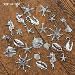 $enCountryForm.capitalKeyWord Australia - 10PCS Antique Silver Ocean Lobster Turtle Seahorse Shell Charms Pendant Jewelry Making DIY Necklace Handmade Crafts Accessories