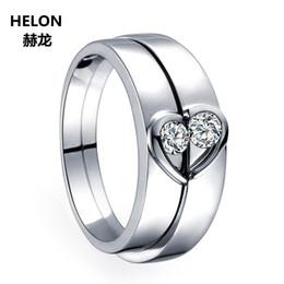 $enCountryForm.capitalKeyWord NZ - Solid 14k White Gold Natural Diamonds Women Engagement Wedding Ring Men Bridal Sets Couple Rings 0.05ct+0.09ct