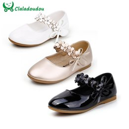 korean girl black dresses 2019 - Girls White Dress Shoes Models Flower Princess Shoes PU Leather Korean Students 3 Color Baby Party For Children Q601 dis