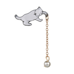 Brooches Reasonable Cute Little White Imitation Pearl Cat Brooch Pins Chic Fashion Jewelry Bijoux Brooch Wholesale Women Accessories Jewelry Sets & More