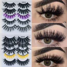 $enCountryForm.capitalKeyWord Australia - 5 Pairs Mixed Color 5D Mink Hair False Eyelashes Natural Long Wispies Fluffy Eyelashes Extension Multi Layers Thick Lashes