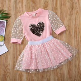 lace print shirt Australia - Kid Baby Girl Clothes Sequin Love Heart Patchwork Half Sleeve Tops T-shirt Lace Skirt Casual Outfit Summer Set