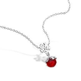 1af21b33832a Moda 100% 925 plata esterlina collar de copo de nieve exquisito rojo bola  de cristal colgante Gargantillas Mujeres Niñas Joyería de Plata Regalo
