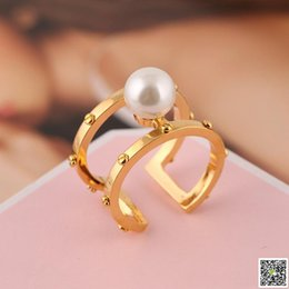 Finger Brass Ring Australia - 2019 brass material Opening Ring Mid Finger Knuckle Rings with pearl 0.8cm beads spring combination Rings Jewelry