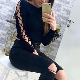 Long Sleeve Black Lace Tee Australia - Women Long Sleeve T-Shirts Sexy Lace Up Tees Female New Brand Solid Black Color Plus Size T-Shirt