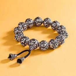 $enCountryForm.capitalKeyWord Australia - Tibetan Buddhism Brass Silver Plated Charm Rope Bracelet For Men Six Words Mantra Yoga Lotus Prayer Beads Bracelet Women MX190727