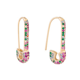 rainbow fashion women earring 2019 latest new design safety pin shape ear wire Gold plated trendy gorgeous women jewelry on Sale
