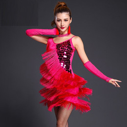 sequin fringe dance NZ - red latin dance costumes women salsa dancewear dance costume dresses ballroom competition dresses tango adult fringe gold sequin 2019