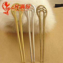 $enCountryForm.capitalKeyWord Australia - A3634 170*32.5MM double fork Bob bookmark gold hair jewelry DIY hair accessories, antique silver plated hairpin, vintage hair sticks