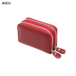 Genuine Leather Man Bag Small Australia - AOEO Double Zipper Genuine Leather Purse Women Men Unisex Mini Small Bag Driver Lisence Coin Purse And Cards Holder Zipper Pouch